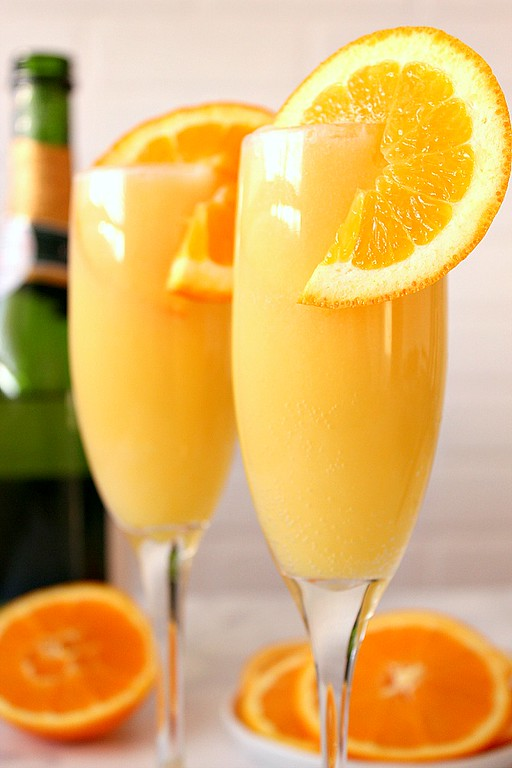 Orange Creamsicle Mimosa in two glasses