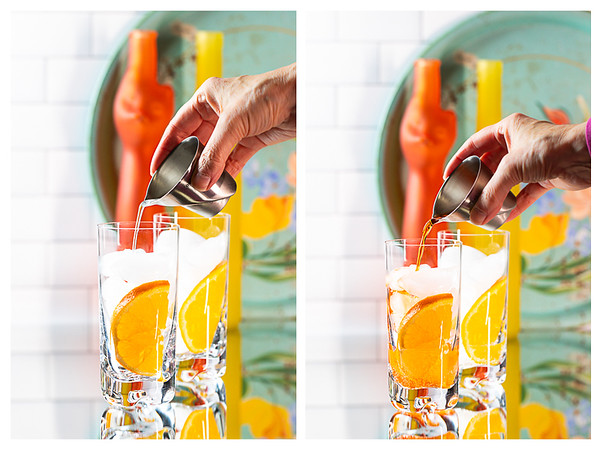 Two photos showing liquid being poured into cocktail glass.