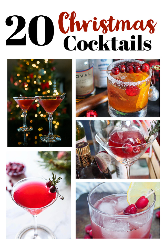 Collage of Christmas cocktails with text overlay reading 20 Christmas Cocktails.