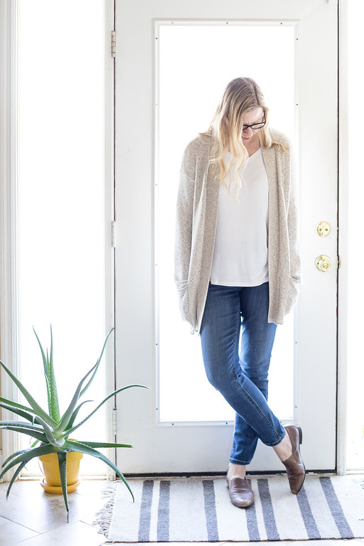 Spring layering with cotton cardigan