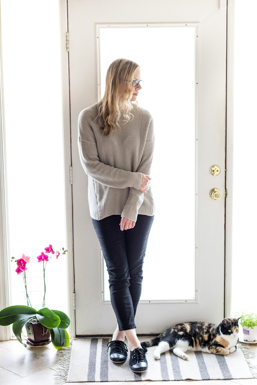 Philsophy sweater with pants and flats. Minimalist.
