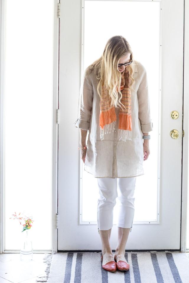 Thari Linen Tunic, orange scarf, white pants, orange shoes