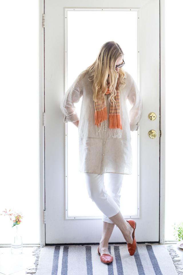 Ivory Linen Tunic, Orange Scarf, White Cropped Pants, and Orange Shoes