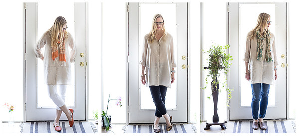 3 views of a woman in a linen tunic