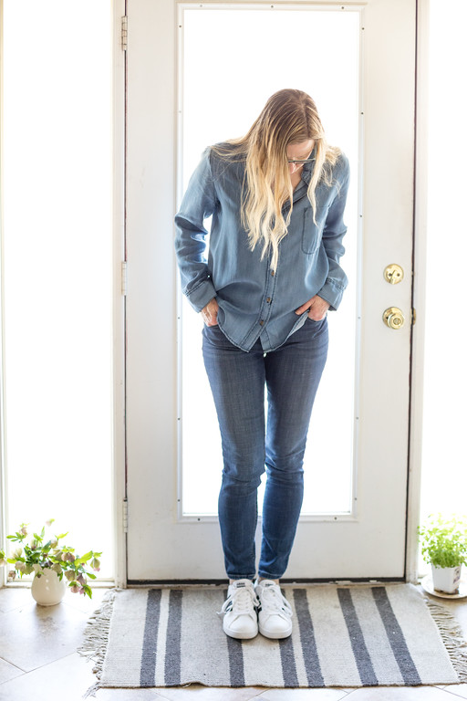 Lee Modern Series medium wash jeans with chambray top and adidas tennies