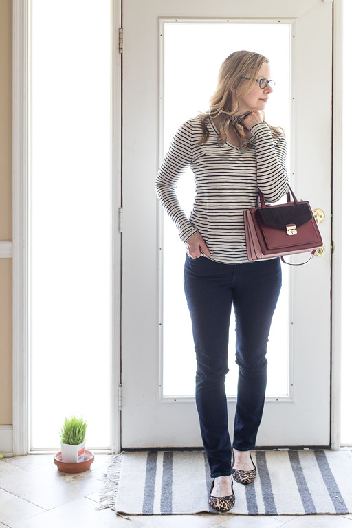 Winter Capsule Wardrobe - dark jeans, stripped t-shirt, leopard flats, Adrienne Vittadini scarf and Kate Spade purse.