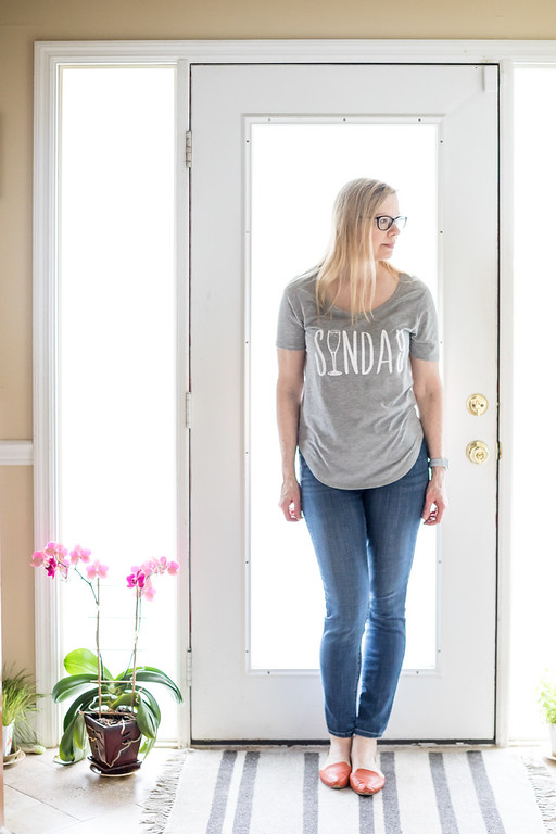 Fifth Sun Grey T shirt with Sunday wrote on it with a wine glass.