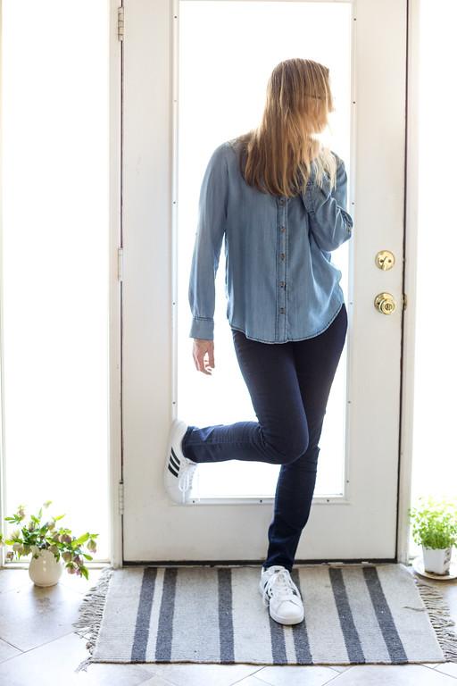 Dark Calvin Klein Jeans, Velvet Heart chambray top, addidas tennies for spring capsule wardrobe