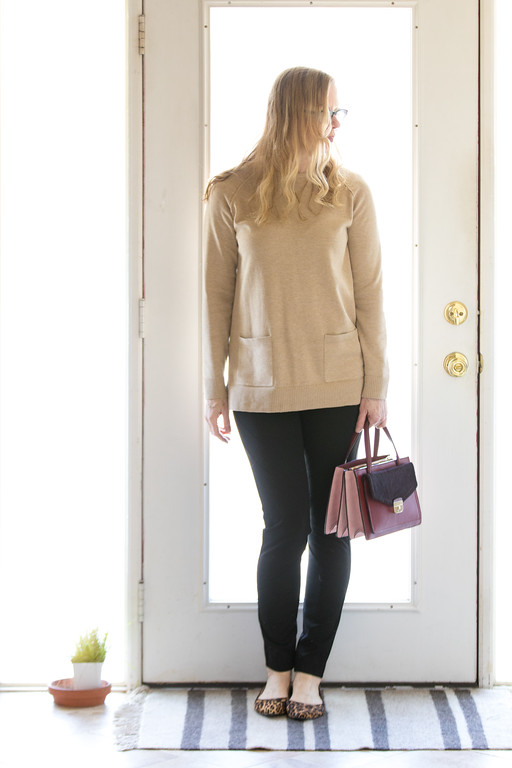 Winter Capsule Wardrobe - camel sweater, black leggings, leopard flats and Kate Spade purse