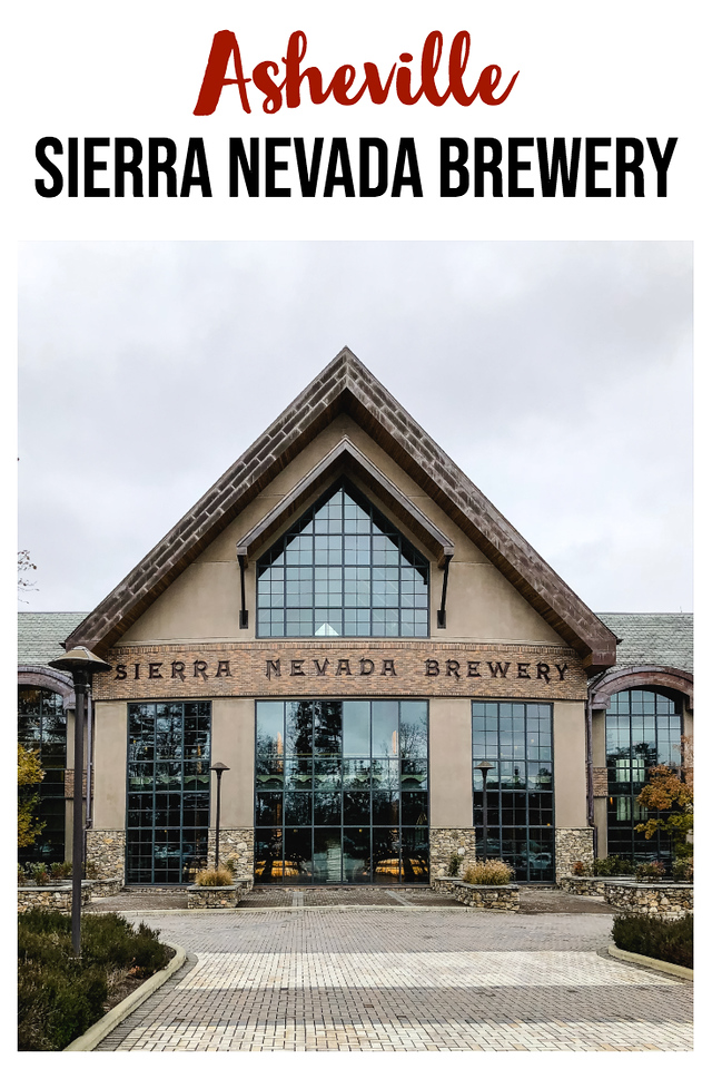 The outside of the Sierra Nevada Brewery in Asheville with text overlay.