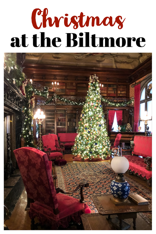 Photo of a Christmas decorated room at the Biltmore with text overlay reading Christmas at the biltmore