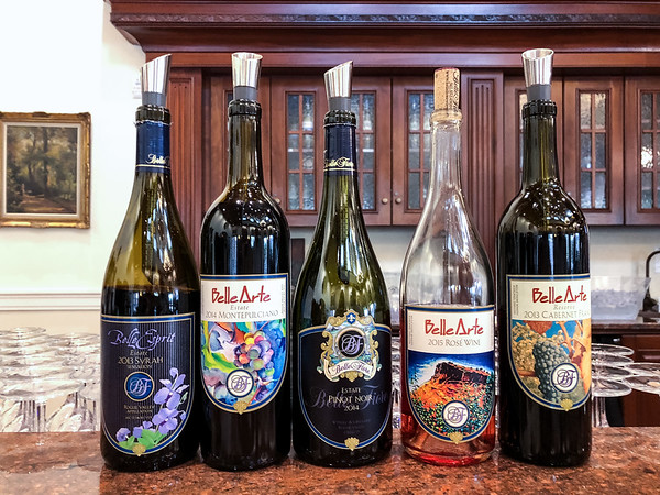 Wines we tasted at Belle Fiore Winery