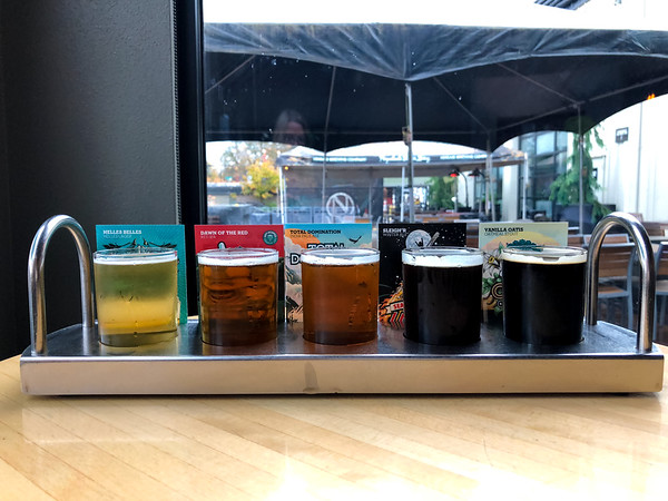 Tasting flight at Ninkasi Brewery