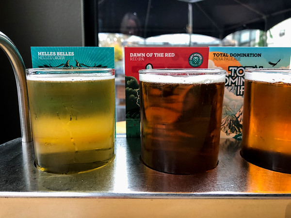 Close up of beer tasting flight from Ninkasi Brewery.