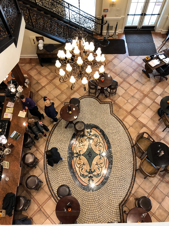 Looking down into the lower tasting room of the Pavillion for Belle Fiore Winery