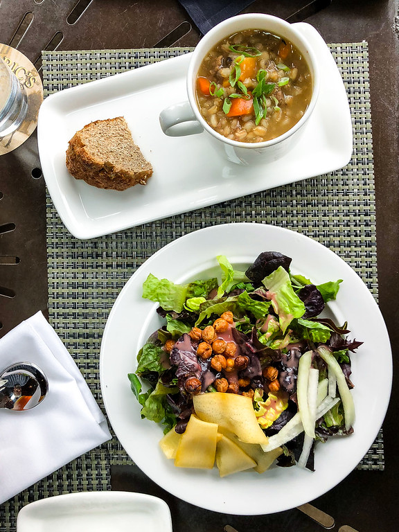 Overhead shot of soup and salad from Cedric's Tavern.