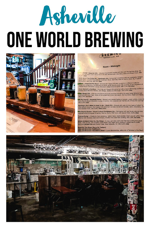 Photo collage from One World Brewing in Asheville North Carolina