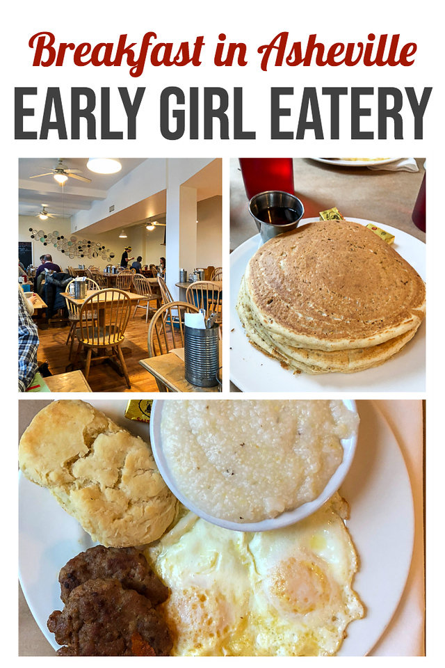 Collage of photos from breakfast at early girl eatery - pancakes, sausage, gravy and biscuits.
