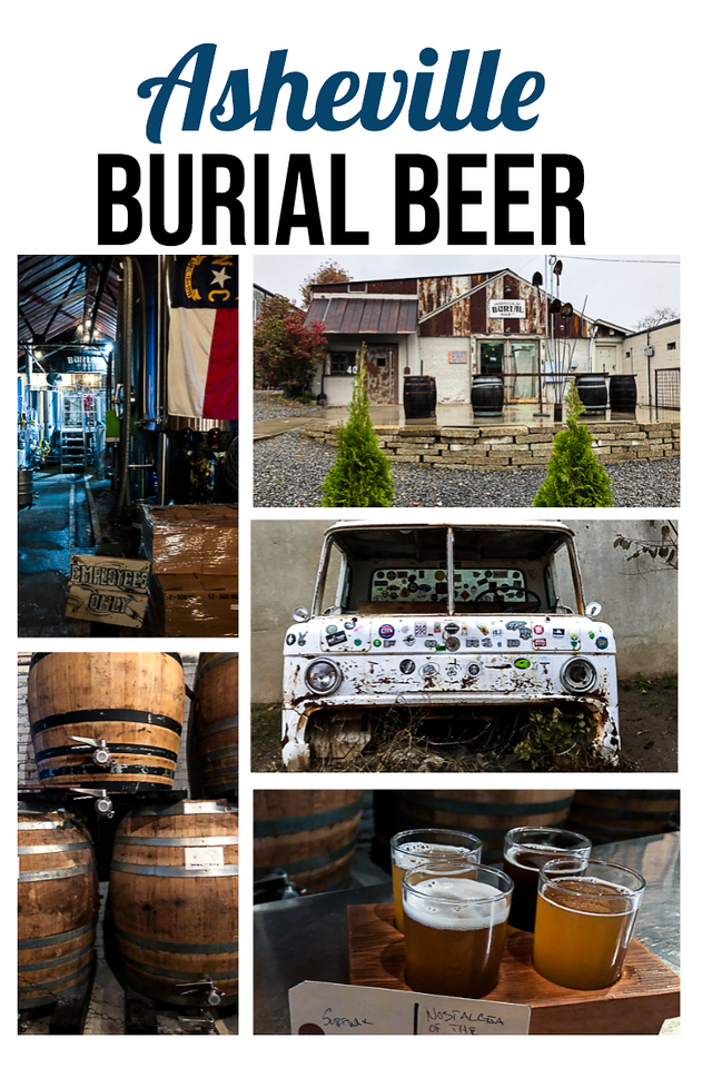 A collage of photos from the Burial Beer Company in Asheville - with text overlay.