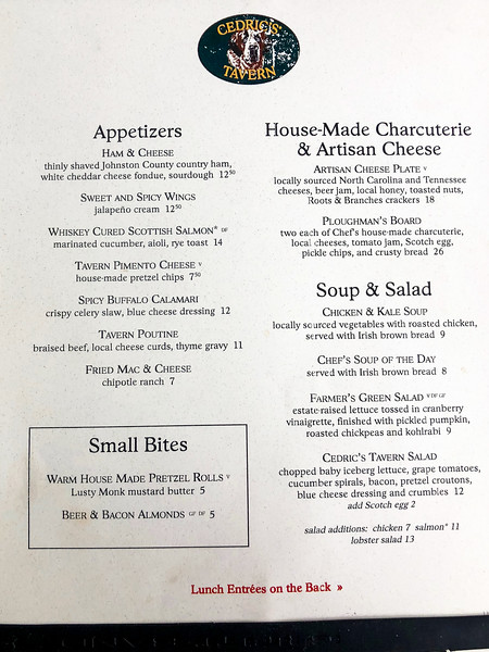 Menu from Cedic's Tavern front page