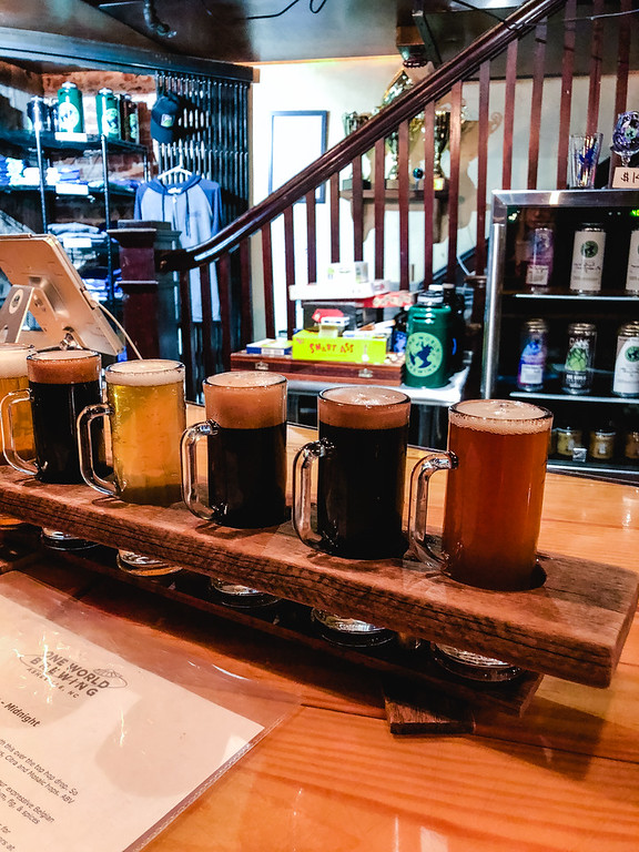 Beer flight at One World Brewing