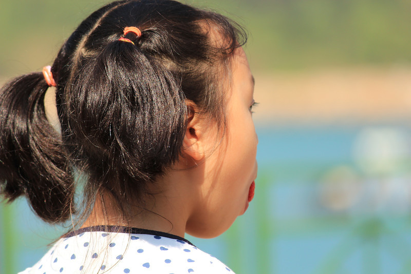 Asian Girl with Pig Tails eating a Strawberry