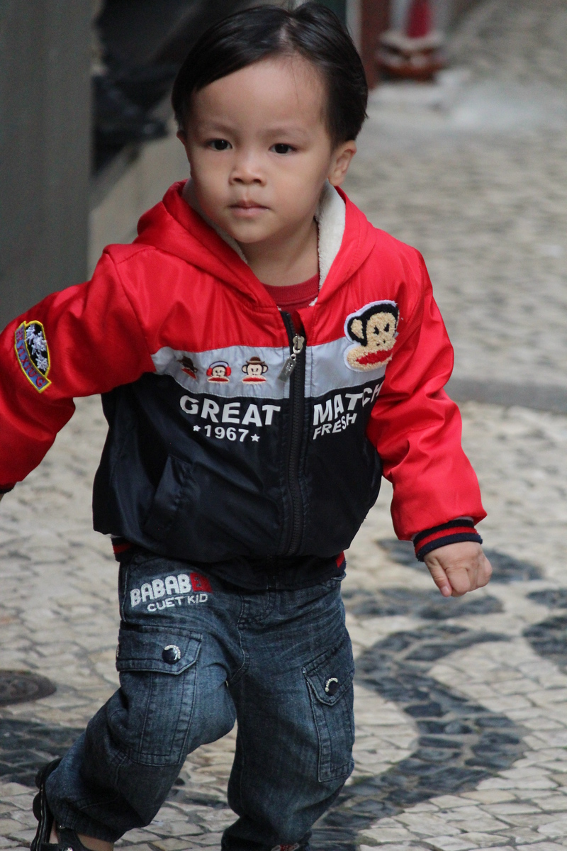 Chinese Boy Running, Senado Square, Macau