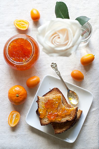Breakfast table: clementine-kumquat marmalade and toast.