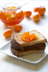 Clementine-kumquat marmalade on toast.