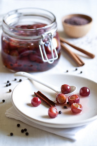 Pickled grapes with peppercorns, cinnamon, and brown mustard seed. (They're good, honest!)