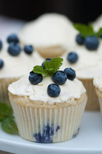 Blueberry cupcakes with lemon buttercream icing.