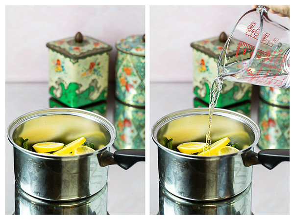 Photo collage showing lemon slices in a pot and then water being poured in the pot.