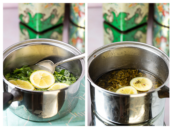 Photo collage showing mint and lemon in water before and after cooking.
