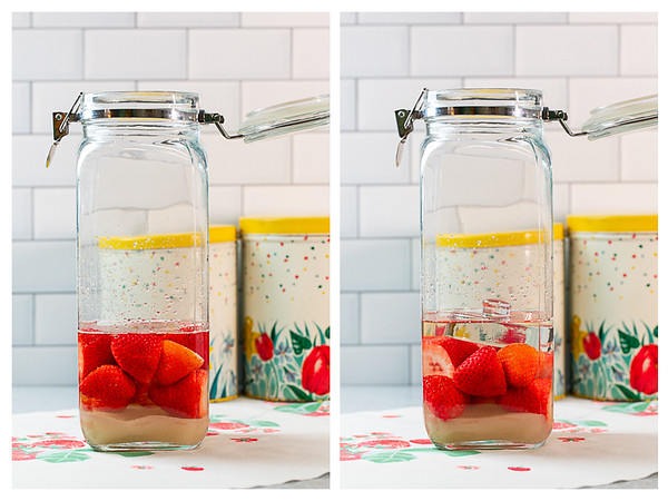 Two photos showing strawberries, rum and sugar with the strawberries weighed down with a glass weight.