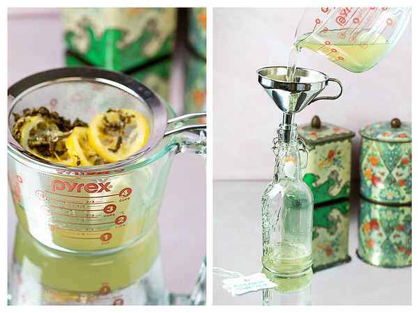 Photo collage showing lemon and mint strained out of syrup and syrup being poured into a bottle.