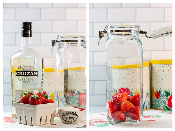 Rum with strawberries and sugar and strawberries in a jar.
