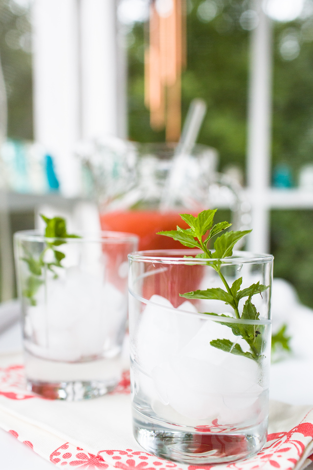 Ice filled glass with mint sprig and pitcher of cocktails in the background