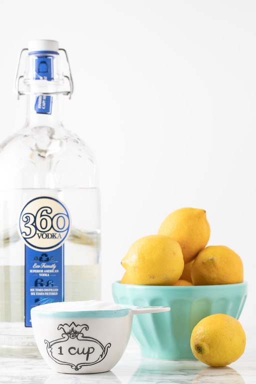Ingredients to make limoncello!
