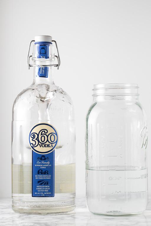 Vodka in large mason jar.