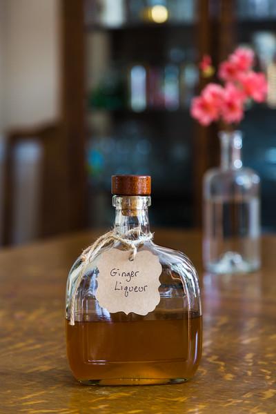 Bottle of homemade ginger liqueur