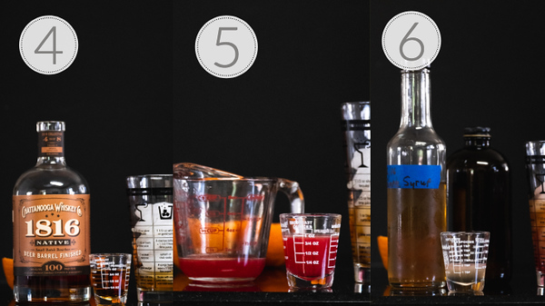 Steps 4, 5, and 6 for making a blood orange whiskey sour