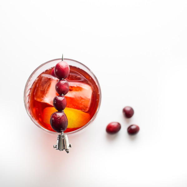 A Cranberry Negroni makes a festive holiday drink! Photo from above.