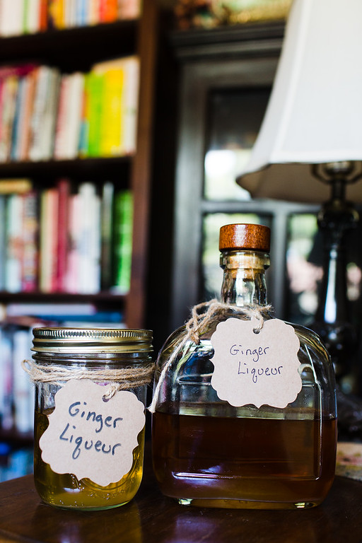 Homemade ginger liqueur one vodka based and one brandy based