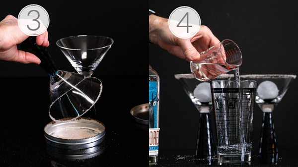 Photos showing steps 3 and 4 for making a margarita, rimming with salt and adding tequila.