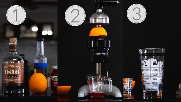 Photos showing steps 1, 2, and 3 for making a whiskey sour.