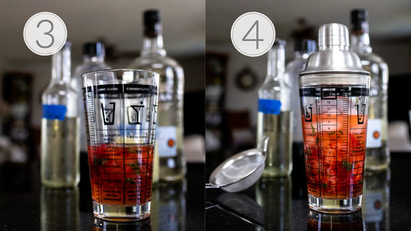 Photo collage showing steps 3 and 4 for making a strawberry mojito
