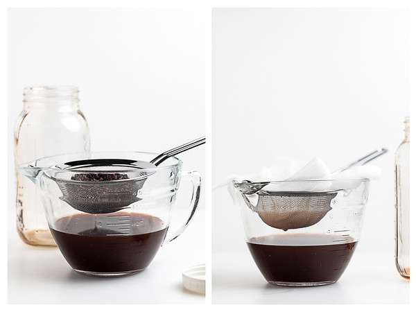 Two photos showing the straining step for making chocolate liqueur.