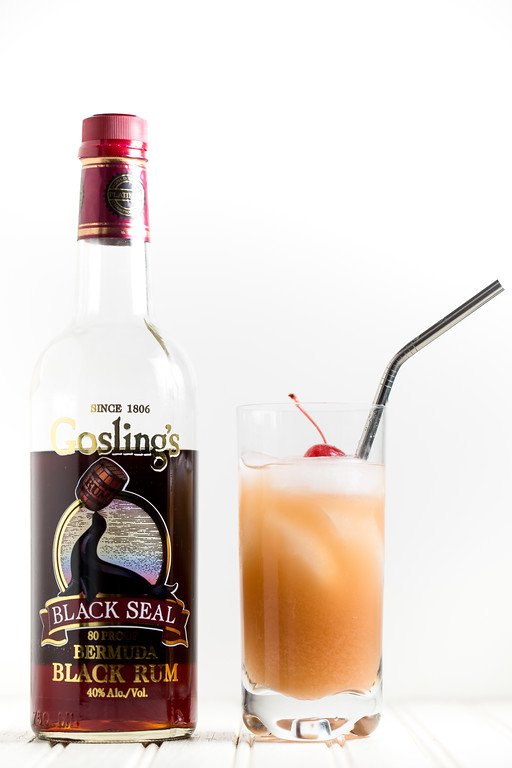Goslings Dark Rum with Mai Tai cocktail
