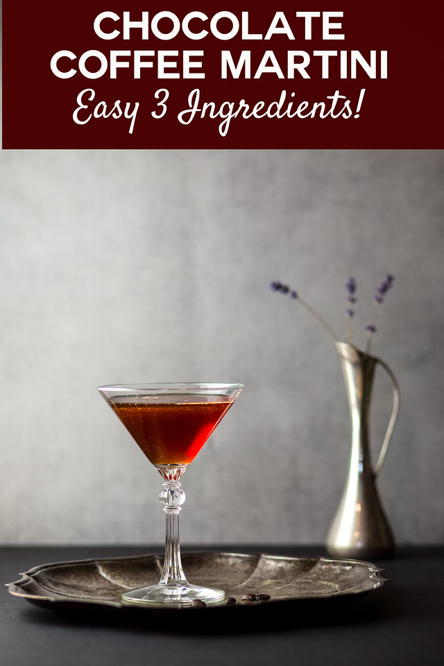 Dark reddish brown cocktail on a silver tray with a vase in the background and text overlay reading Chocolate coffee martini