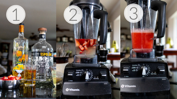 Photo collage showing the three steps for making a pitcher of strawberry margaritas.